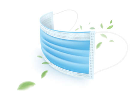 Blue 3-layer medical mask, protect against germs, coronavirus, bacteria, dust, mucus and saliva Stop the spread of germs when sneezing and coughing.
