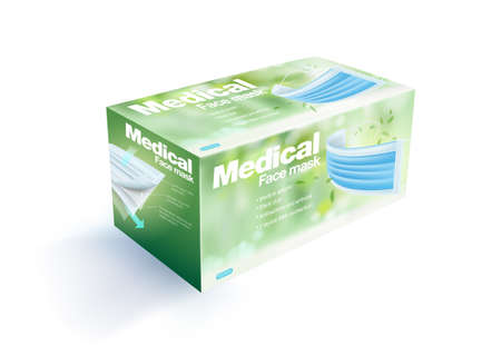 Disposable face mask packaging box contains 50 pieces, blurred natural green background. Realistic mock up file.