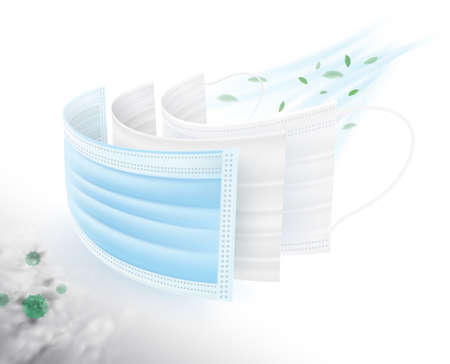 Medical mask 3-ply protect germs and dust, corona virus, The first layer is coated with antiseptics, viruses and bacteria. 2 layers of carbon, eliminate dust and odor, 3 layers of fine fabric. Illustration
