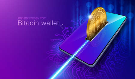 Transfer money from Bitcoin coin wallet to Smartphone securely with advanced technology. It cannot be hacked or stolen with your personal password through the blockchain system. Иллюстрация