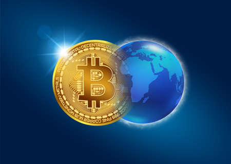 Bitcoin concept. New world currency. Bitcoin cryptocurrency digital payment system in the world. Dark blue background.