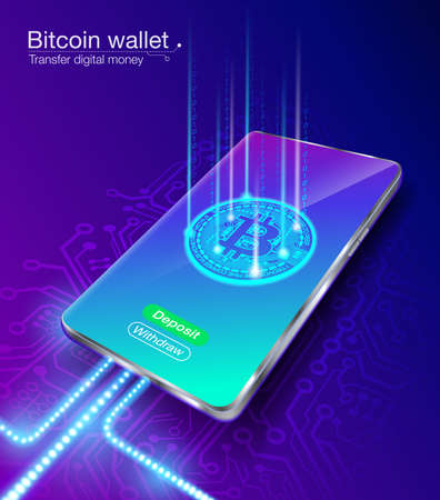 Bitcoin digital money wallet transfers, deposits and withdrawals using a smartphone, fast, via an intelligent system, secure blockchain, low fees. EPS file.