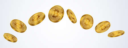 Bitcoins coin isolate on gray background. EPS file.
