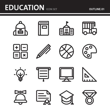 education school and university outline icon - set 1 Ilustração