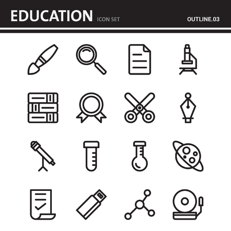 education school and university outline icon design - set 3