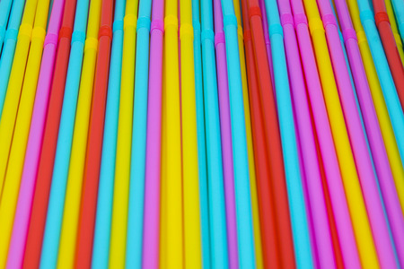 rainbow cocktail: colorful of drinking straws background. Abstract colorful of plastic straws