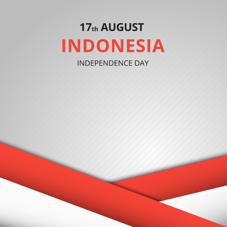 17: Creative illustration, Happy Indonesia Independence Day. Abstract waving flag on Gray background