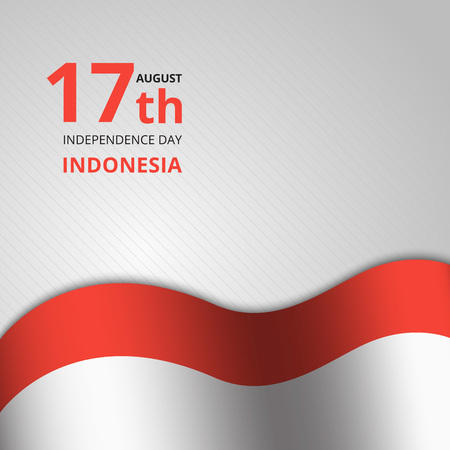 Creative illustration, Happy Indonesia Independence Day. Abstract waving flag on Gray background