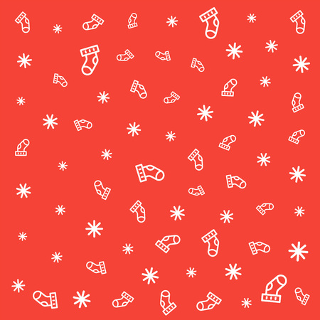 christmas stocking and snowflake seamless pattern on red background. vector background design.