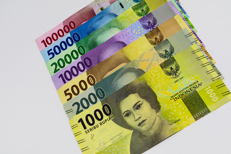 Closeup shot of Indonesia Rupiah banknotes. Stock Photo