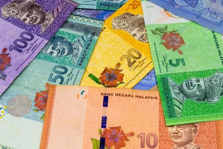 Closeup shot of Malaysia Ringgit banknotes.