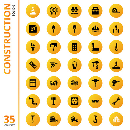 construction icons set design collection with glyph design style. vector illustration.