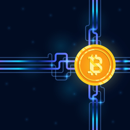gold bitcoin digital currency icon on circuit board background. mining and crypto currency technology concept. vector illustration.