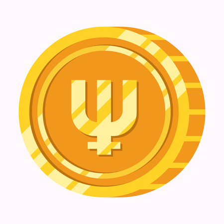 Primecoin cryptocurrency symbol on gold coin flat illustration isolated on white background. Money icon design vector illustration.