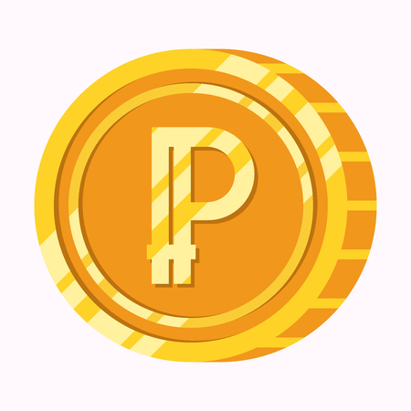 Peercoin cryptocurrency symbol on gold coin flat illustration isolated on white background. Money icon design vector illustration. Illustration