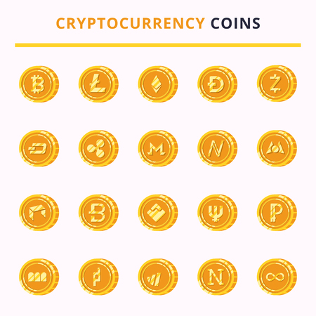 A set of icons of cryptocurrency symbol on gold coin flat illustration isolated on white background. Money icon design vector illustration. Illustration