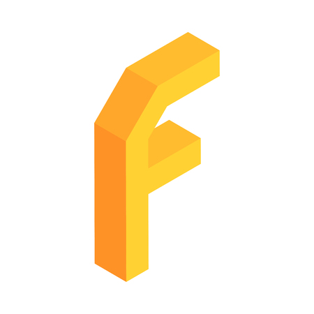 3D colorful isometric alphabet font on white background. Letter F. vector typography design.