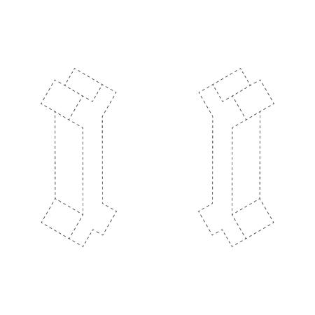 Letter I 3D isometric black and white alphabet font worksheet. coloring page for children education. connect the dots and restore dashed line game. Vector illustration. Ilustração