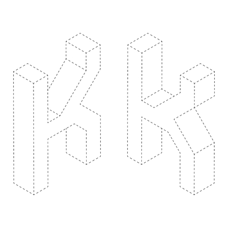 Letter K 3D isometric black and white alphabet font worksheet. coloring page for children education. connect the dots and restore dashed line game. Vector illustration.