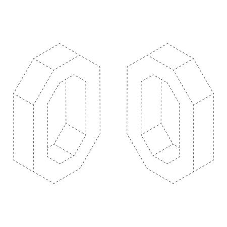 Letter O 3d Isometric Black And White Alphabet Font Worksheet