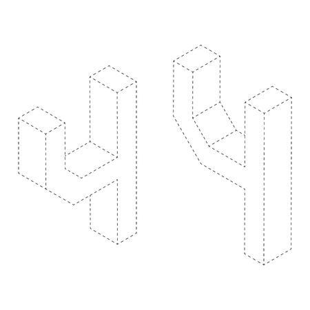 Number four 3D isometric black and white alphabet number worksheet. coloring page for children education. connect the dots and restore dashed line game. Vector illustration. Ilustração
