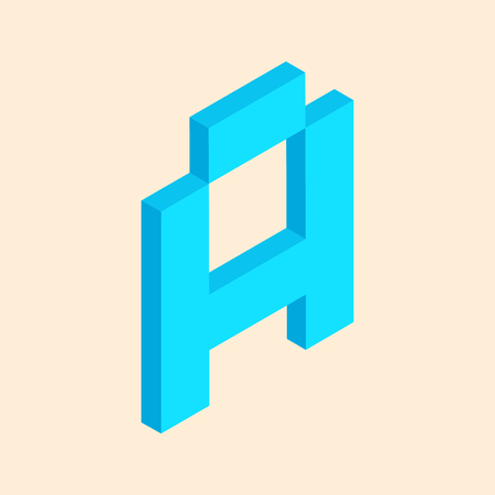 3D colorful isometric pixel art alphabet typeface. Letter A. vector typography design.
