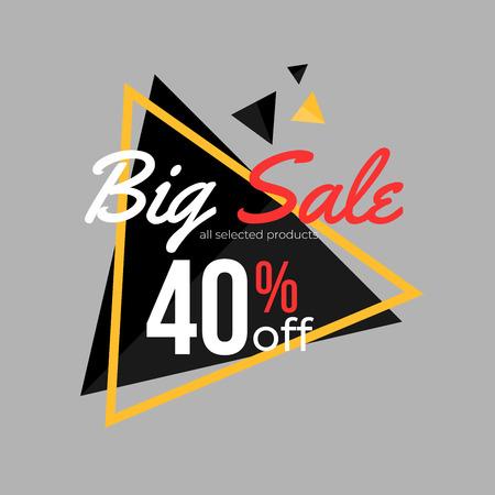40% discount super sale banner template design for poster, flyer, shop, online store promotion.  Marketing Ad. Vector Modern Illustration.