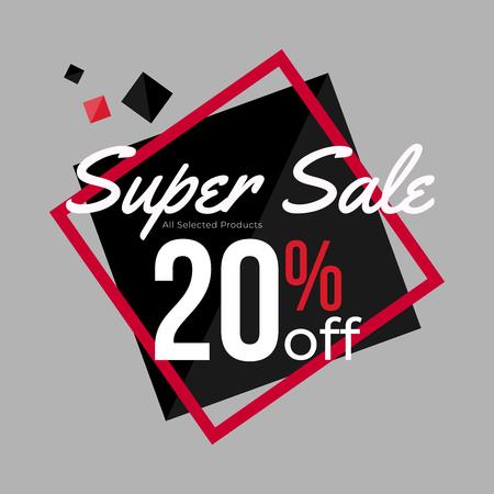 20% discount super sale banner template design for poster, flyer, shop, online store promotion.  Marketing Ad. Vector Modern Illustration.