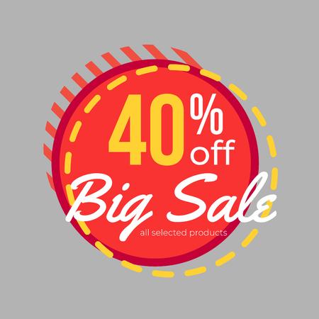 40% discount big sale banner template design for poster, flyer, shop, online store promotion.  Marketing Ad. Vector Modern Illustration.