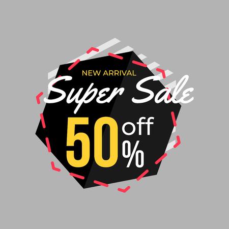 50% discount super sale banner template design for poster, flyer, shop, online store promotion.  Marketing Ad. Vector Modern Illustration.