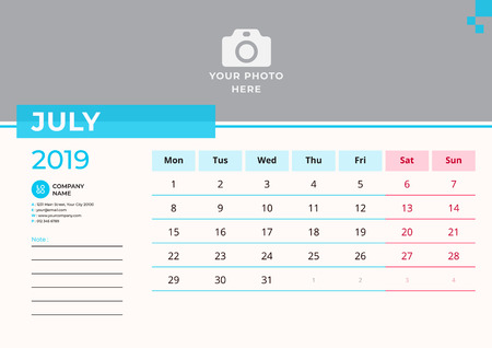 Calendar design for July 2019. Simple blue color. Week starts on Monday. Vector design print template with place for photo.