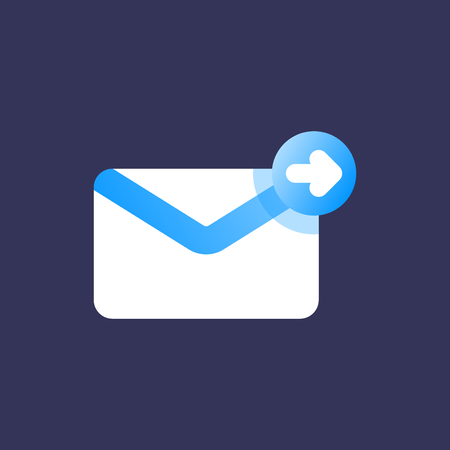 Forward email or message icon. Flat design style icon.