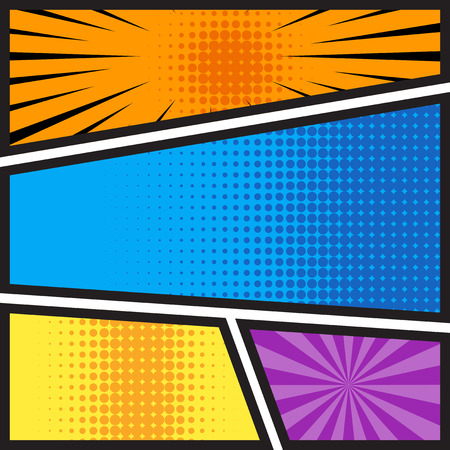 comics book blank template layout with pop art style in different colors. background vector illustration.