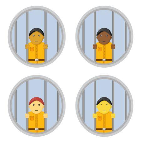 Prison with smiling male prisoners in orange uniforms.
