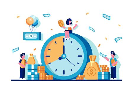 El tiempo es concepto de dinero en estilo plano.