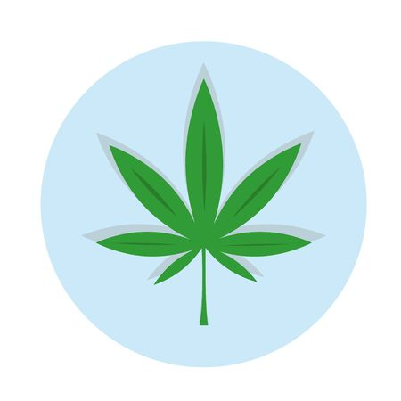 Green marijuana icon with green pharmacy cross. Illustration