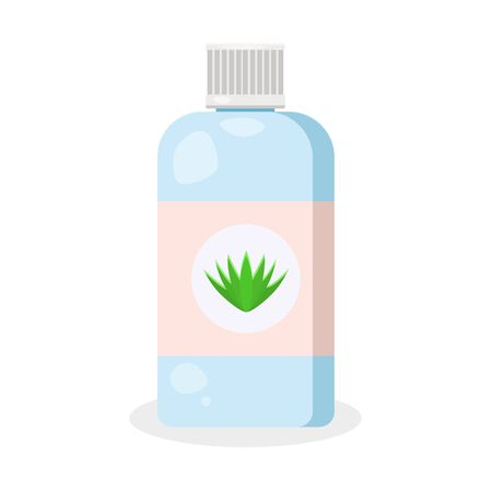 Cosmetology glass, plastic jar. Medical blue bottle with green avocado.Modern flat cartoons style illustration icons. Isolated on white background. Women use for healthy skin and face.