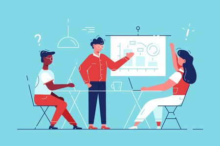 Training of office staff. Increase sales, skills. Team thinking, brainstorming. Analytics of company information. businessmen discuss. Business consultant showing planning board tasks. Career. HR