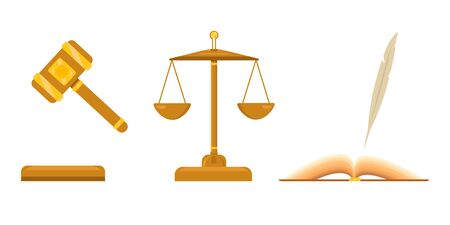 Icon for lawyer firm. Law and justice scales. Open book with pen, feather. Judicial hammer with golden elements.