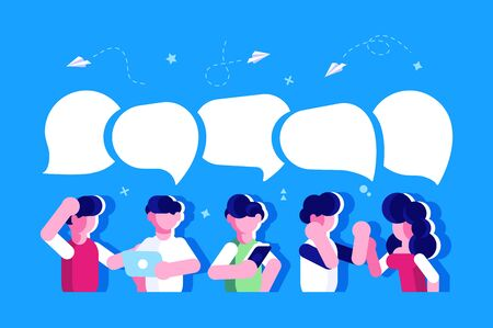 Businessmen discuss social network, news, social networks, chat, dialogue speech bubbles. Business people group. Chat communication. Illustration