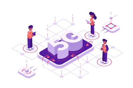 5g technology concept with characters. Illustration