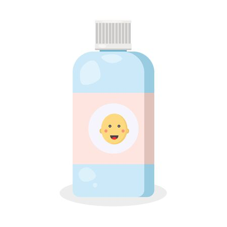 Cosmetology glass, plastic jar. Medical blue bottle with green avocado.Modern flat cartoons style illustration icons. Isolated on white background. Women use for healthy skin and face.  イラスト・ベクター素材