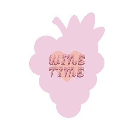 Wine time poster with bunch of grapes, pink heart. Illustration