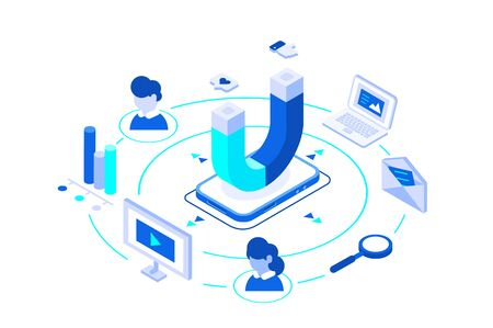 Inbound marketing business. Online or permission digital marketing. Magnet as product. Elements are different advertising ways to connect customer or user. Landing page design. Isometric flat.