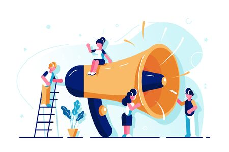 Promotion, advertising, call through the horn, online alerting. Loudspeaker. Talking to the Crowd. Big Megaphone. Flat People Characters. Advertisement Market. Announcement business communication. Stock Illustratie