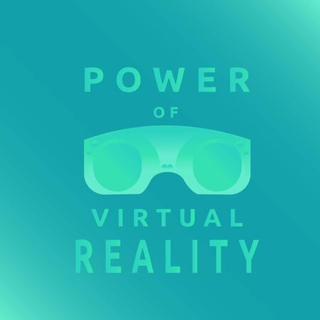 Glasses of virtual reality device with turquoise and blue gradient. VR technology. High-tech stereoscopic 3D visor.