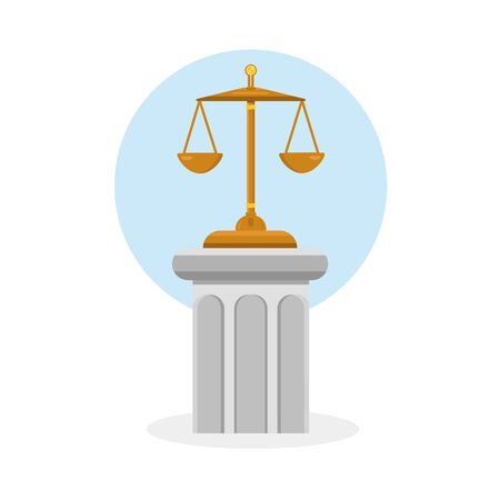 Icon for lawyer firm. Law and justice. Judicial hammer on stone column with golden elements.