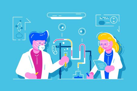 Science. Medical chemical biological research laboratory. Man and woman scientist working at laboratory.
