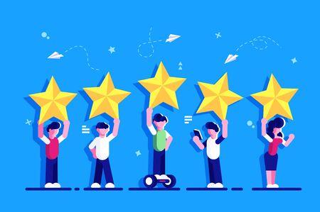 Fünf-Sterne-Bewertung des flachen Stilkonzepts. Menschen halten Sterne über den Köpfen. Feedback von Verbraucher- oder Kundenbewertungen, Zufriedenheitsgrad und Kritik. Bewertung. Feedback für die Webseite. Vektorgrafik