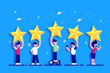Five stars rating flat style concept. People are holding stars over the heads. Feedback consumer or customer review evaluation, satisfaction level and critic. Rating. Feedback for web page.